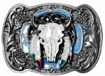 Buffalo Skull and Feathers Belt Buckle + display stand. Code CA2